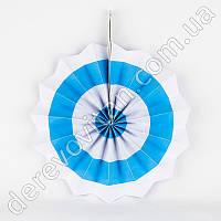 Подвесной веер, бело-голубой, 30 см - бумажный декор-розетка