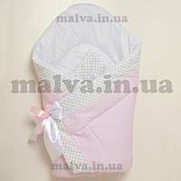 """Конверт-одеяло весна, осень  для новорожденного """"Горошки на розовом"""""""
