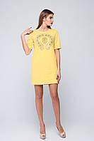 Платье из двунитки Роза желтое