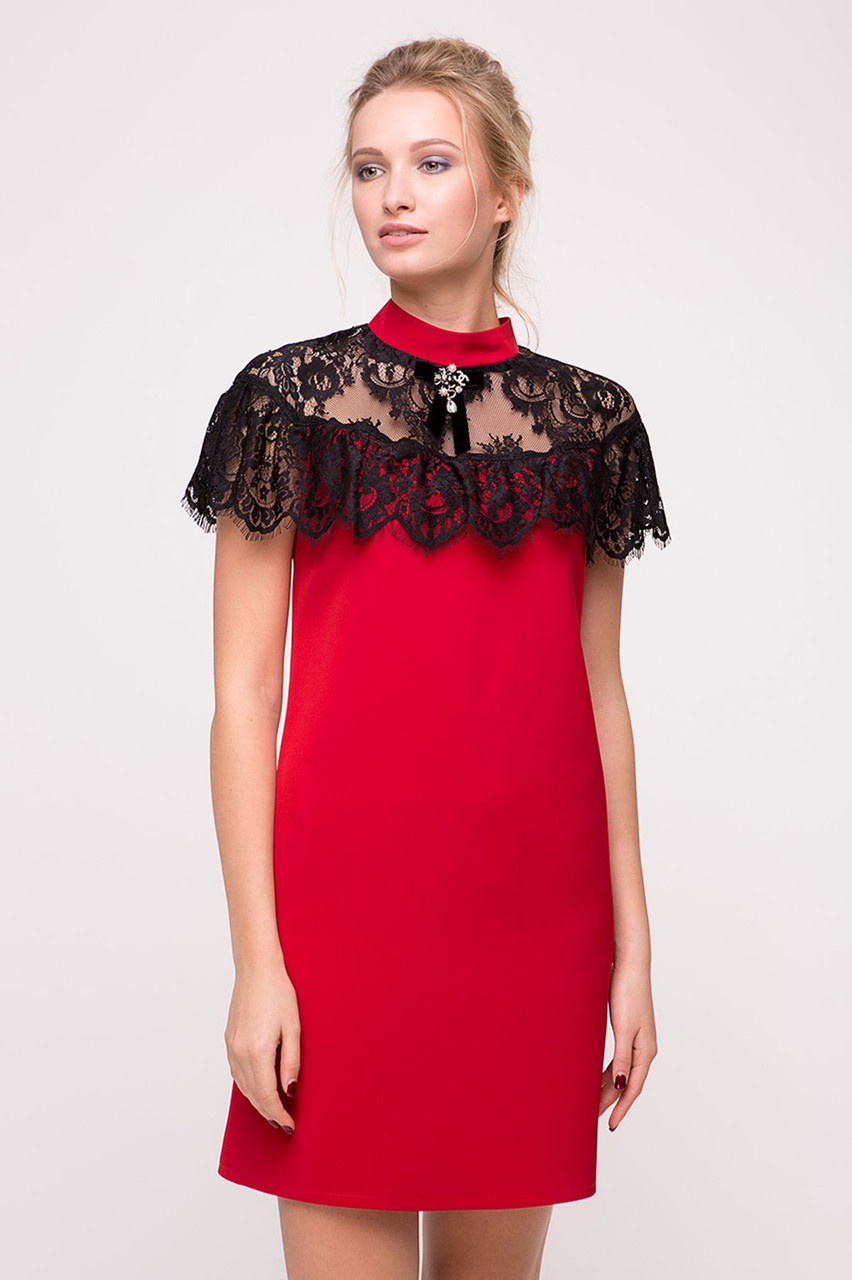 9a8b4ca3eacaf24 Коктейльное платье с пелериной из гипюра Красное - Модный магазин в Киевской  области