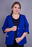 Карина. Стильный пиджак женский супер батал. Электрик., фото 1