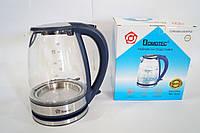 Дисковый стеклянный электрочайник Domoteс MS-8111 с LED подсветкой, фото 1