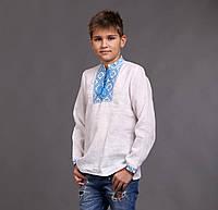 Вышиванка на мальчика с голубым орнаментом, фото 1