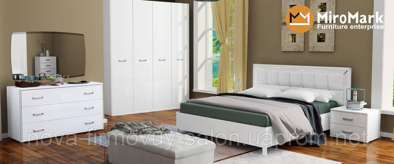 Спальня Белла глянець білий