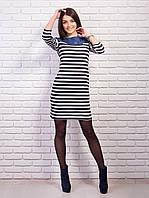 Стильное трикотажное платье с оригинальным бантом из джинсовой ткани