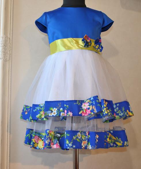 Нарядное платье для девочек Мимоза Синее
