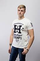 Распродажа! Мужская футболка с велюровой надписью, молочная. р: XL, XXL.