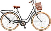 """Велосипед 28"""" Dorozhnik RETRO 14G планет. рама-19"""" St серый с багажником зад St, с крылом St, с корзиной  2017"""