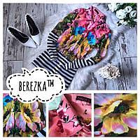 Рубашка женская с длинным рукавом штапель в цветочный принт 4 расцветки Rb51