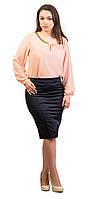 Женская блузка из крепа с цепочкой пудра, фото 1