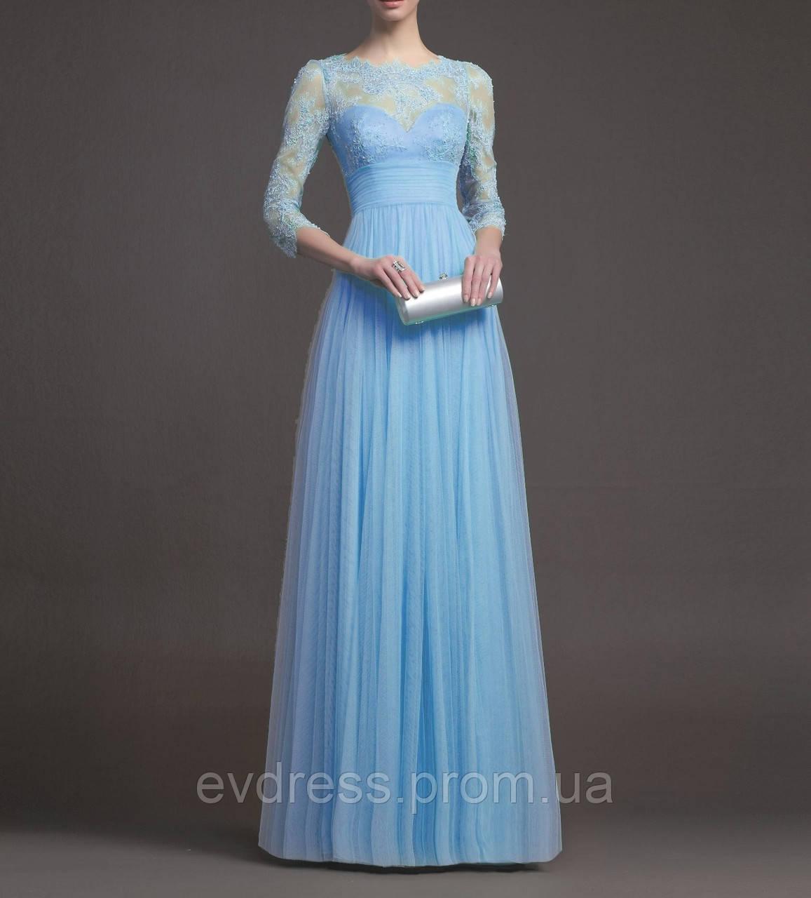 16a833422645 Голубое Вечернее Макси Платье с Рукавами 3 4 на Свадьбу, Выпускной -  Интернет-