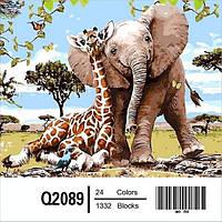"Q2089 ""Слоненок и жираф"" Роспись по номерам на холсте 40х50см"