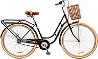 """Велосипед 28"""" Dorozhnik RETRO 14G планет. рама-19"""" St черный с багажником зад St,с крылом St,с корзиной 2017"""