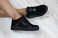 Туфли женские на шнурках замшевые цвет : черный