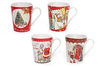 Кружка фарфоровая 555-324 Merry Christmas  4 видов