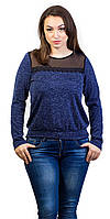 Женская кофта с сеткой увеличенный размер синяя