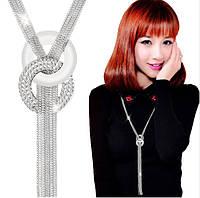 Ожерелье колье Пандора Горный хрусталь цвет серебро