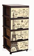 "Комод на 4 ящика с декором ""париж"" коричневый Алеана"