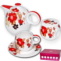 """Чайный набор S&T 14 предметов """"красный мак"""""""