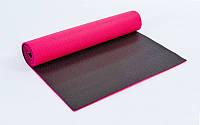 Коврик для йоги и фитнеса (Yoga mat) 2-х слойный PVC 6 мм (1,73 м x 0,61 м x 6 мм, малин-чер)