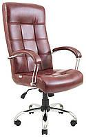 Кресло для руководителя Вирджиния хром Кожа-Люкс  комбинированная