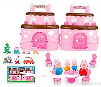 """Дача """"Свинка Пеппа"""" 666-007-1 в наборе с фигурками и мебелью."""