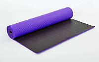 Килимок для йоги та фітнесу (Yoga mat) 2-х шаровий PVC 6 мм (1,73 м x 0,61 м x 6 мм, фіолет-чер)