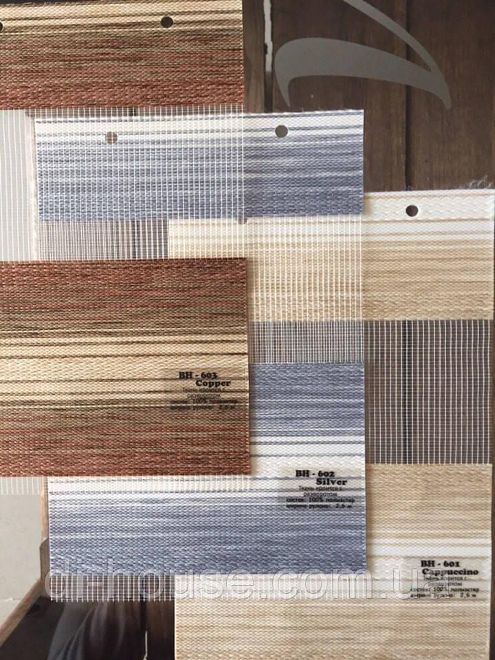 Рулонные шторы День-Ночь BH оттенки:Cappuchino/Silver/Copper