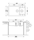 Кухонная гранитная мойка с фруктовницей Fabiano Quadro  86x50x15 Alpine White, фото 3