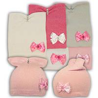 Вязаная шапка с бантиками, для девочки, KC52