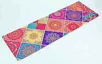 Килимок для йоги та фітнесу (Yoga mat) 2-х шаровий замша, каучук 1 мм (1,83 мх0,61 мх1 мм, орнаж), фото 1