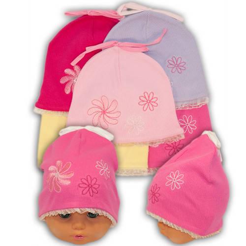 Трикотажные шапки детские с вышивкой, 1601