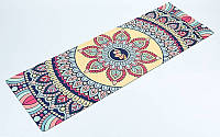 Коврик для йоги и фитнеса (Yoga mat) 2-х слойный замша, каучук 1 мм (1,83 мx0,61 мx3 мм, красн)