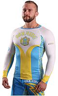 Мужской Рашгард украинской символики с длинным рукавом сине белый