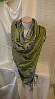 Палантин женский двусторонний зелёного цвета