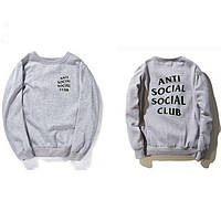 "Свитшот серый с принтом A.S.S.C.""Anti Social social club"""