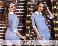 Красивое джинсовое платье в горошек. Арт-9949/79