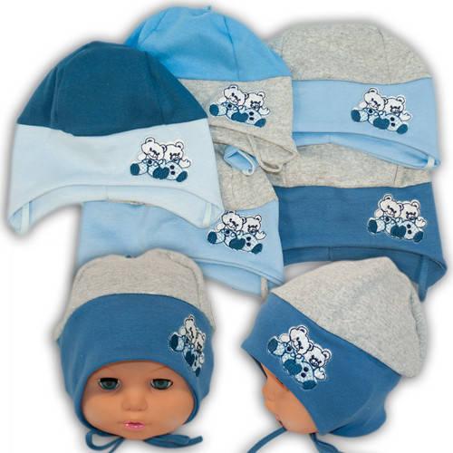 Детские шапки из трикотажа с завязками, 17001