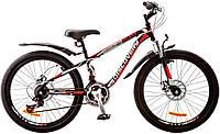 """Велосипед 24"""" Discovery FLINT AM 14G  DD  рама-13"""" St черно-оранжево-красный (м)  с крылом Pl 2018"""