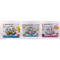 Игровой коврик для малышей с погремушками. Мишка, Уточка, Львёнок. D073.