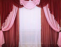 Ламбрекен №11+ двойные шторы, комплект