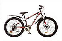 """Велосипед 24"""" Discovery FLINT AM 14G  DD  рама-13"""" St черно-бело-красный  с крылом Pl 2018"""