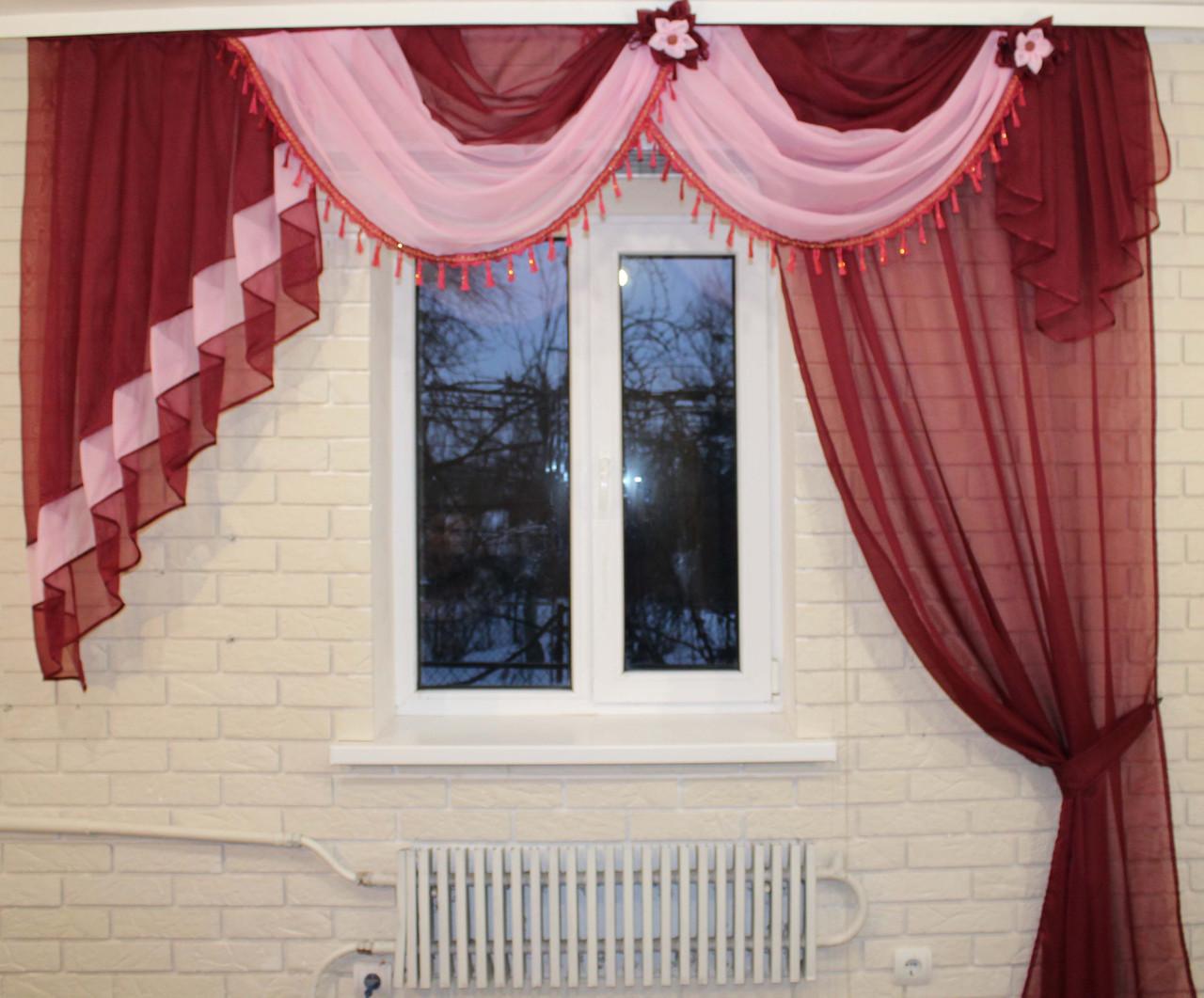 Ламбрекен с шторой 2.5м. №27а Бордовый