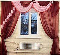 Ламбрекен с шторой 2.5м. №27в Бордовый, фото 1