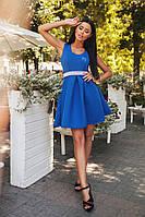 Шикарное  платье с камнями на поясе, цвет электрик. Арт-9953/79