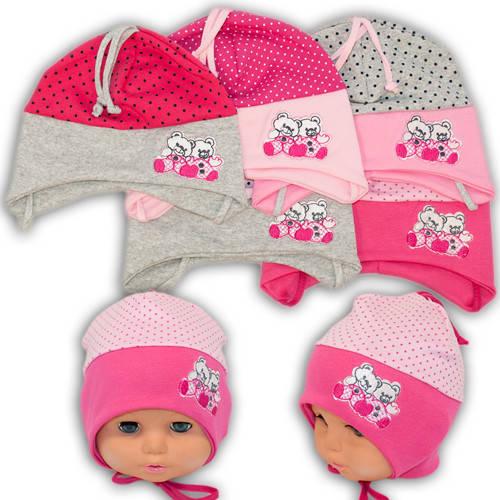 Детские шапки из трикотажа с завязками, 17113