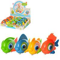 Заводная игрушка 9910 (288шт) рыбка, 11см, двиг.глазки и хвост, 8шт(4цвета) в дисплее,35,5-26,5-9см
