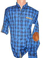 Рубашка мужская клетка трансформер латки полу батал (деми)