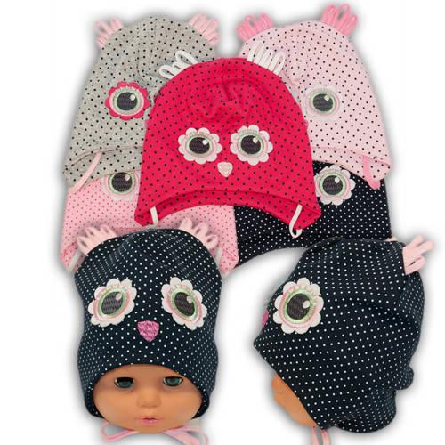 Детские шапки из трикотажа с завязками, 17121