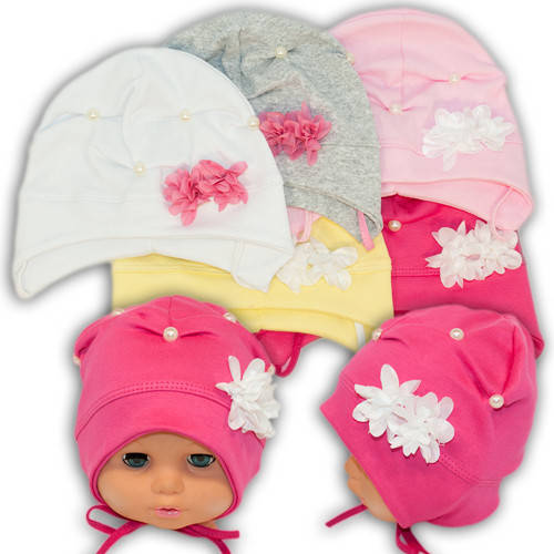 Детские шапки из трикотажа с завязками, 17122
